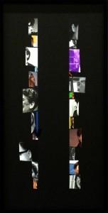 Echo, 2014  Collaged dust jacket elements on museum board.