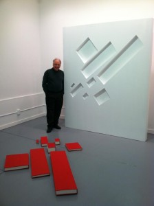 Malevich: with 8 red rectangles, 1992-2012  Books with wall element