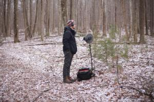 recording Peters Mountain, photo by Matt Flowers